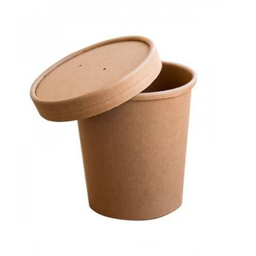Bol supa cu capac din carton kraft